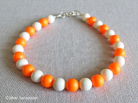Bright Neon Orange & Ivory Cream Pearls Sterling Silver Handmade Bracelet